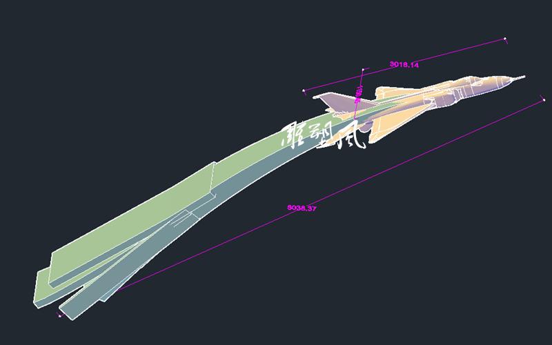 不锈钢飞机雕塑设计图