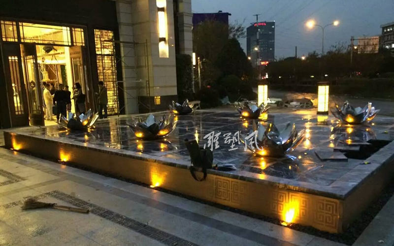 莲花雕塑 夜景效果图