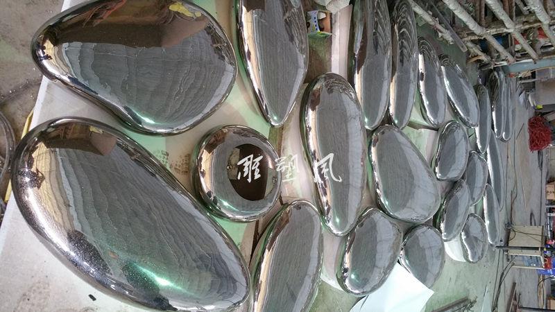 不锈钢鹅卵石 雕塑蛋成品