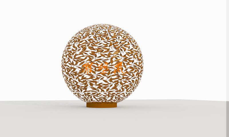 不锈钢镂空球雕塑设计图