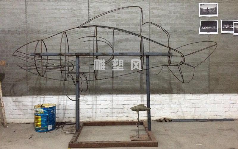不锈钢飞鱼雕塑骨架