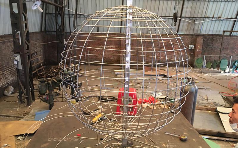 不锈钢地球仪雕塑编织