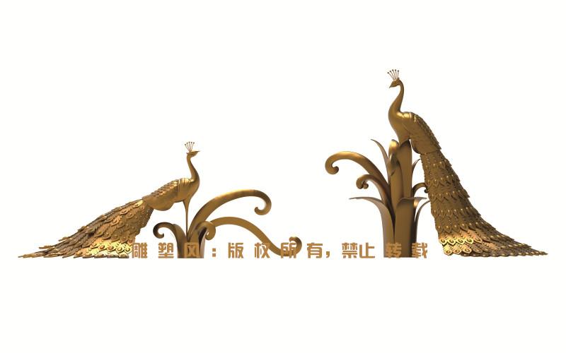不锈钢孔雀雕塑三维建模设计