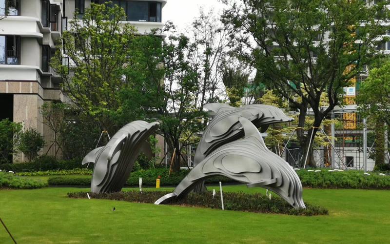 园林景观不锈钢雕塑鲸鱼