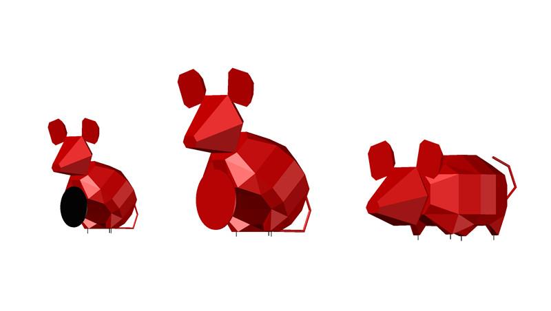 不锈钢老鼠雕塑三维设计建模