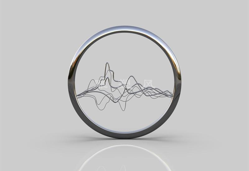 不锈钢水景圆环雕塑_创意喷雾发光效果